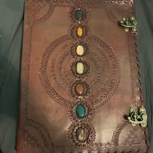 NEW Large Brown Leather Stone Notebook